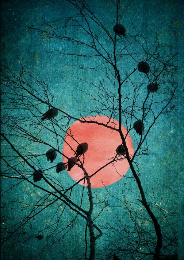 Kubistika sleeping birds in a tree with red moon in the back