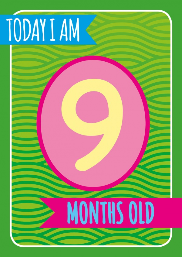 Today I am 9 months old-Lettering
