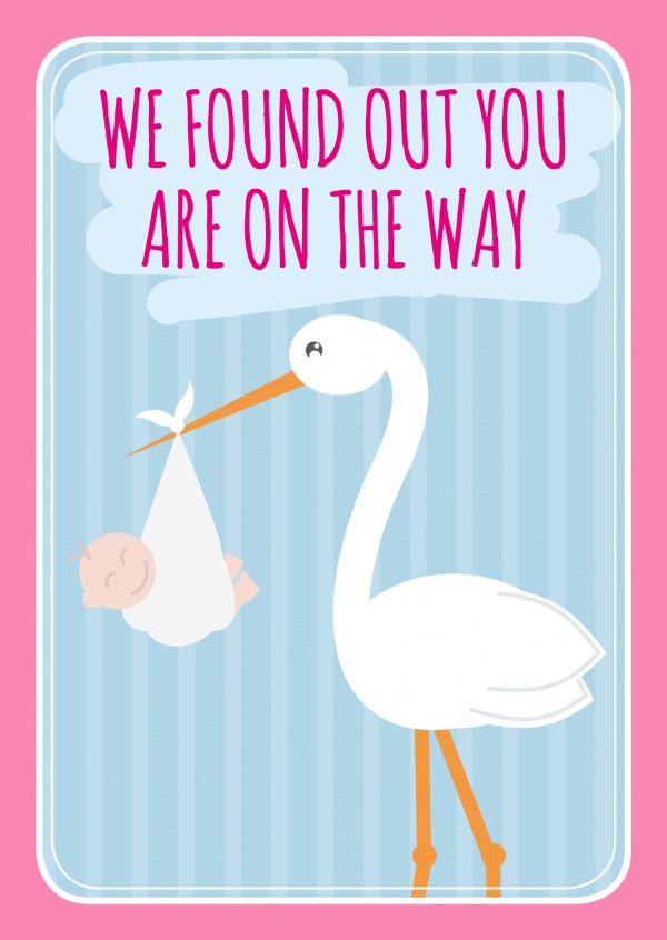 Pink We found out you are on the way lettering with a stork and a baby on a blue-striped backround