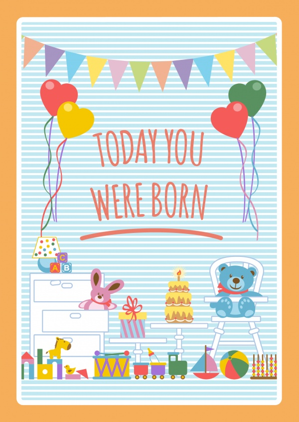 TODAY YOU WERE BORN-Lettering on a blue-striped background with cute toys