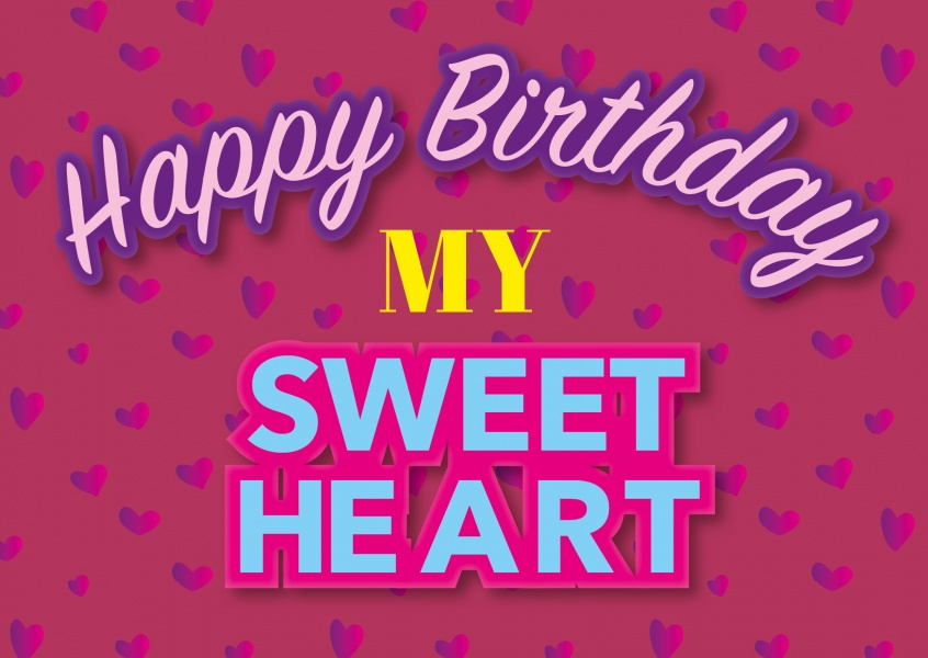 happy birthday my sweetheart postkarten vorlage