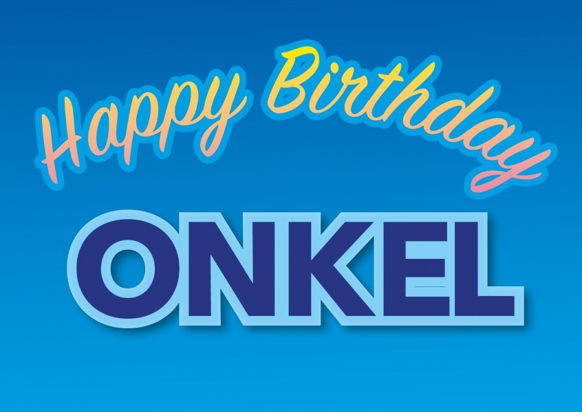 happy birthday onkel blaue postkarte