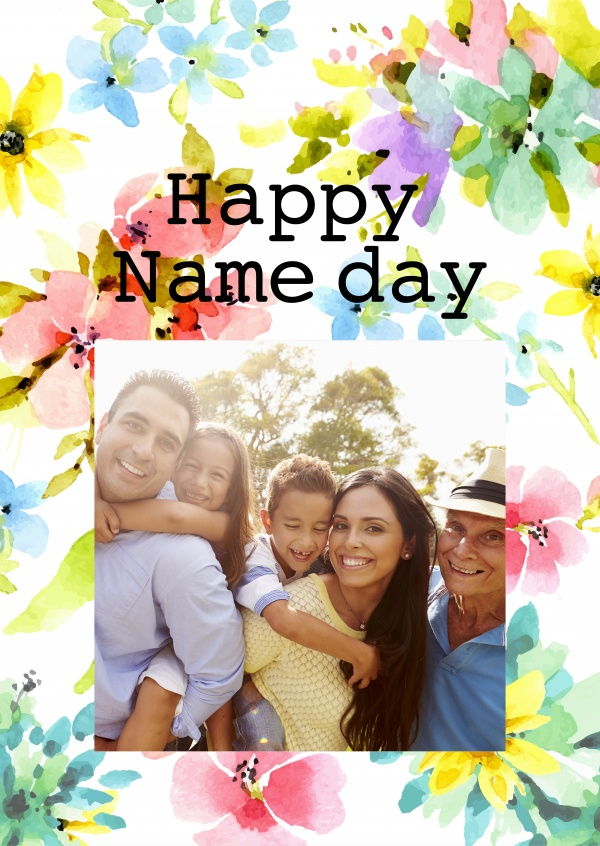 Happy Name Day With Flowers Congratulation Cards