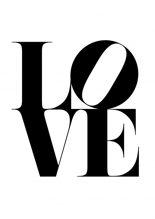 Love written in black letters on white background, typoism–mypostcard