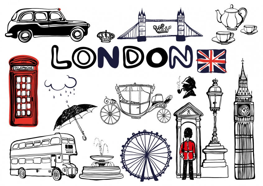 illustration london bilder postkarte