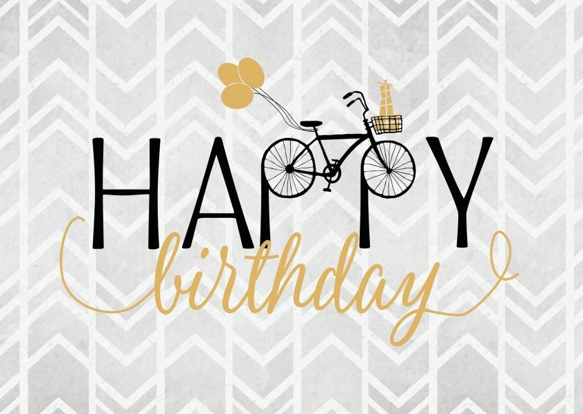 happy birthday mit fahrrad geburtstagskarten echte postkarten online versenden. Black Bedroom Furniture Sets. Home Design Ideas