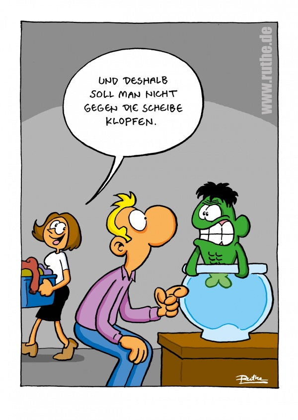 Ruthe Cartoon, incredible Hulk im Wasserglas–mypostcard