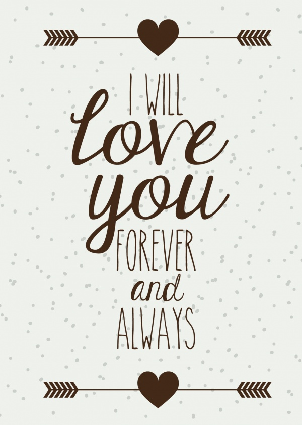 i will love you for ever and allways spruch postkarte