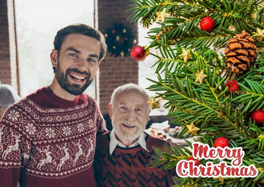 Unterm weihnachtsbaum weihnachtskarten echte for Weihnachtskarte foto online