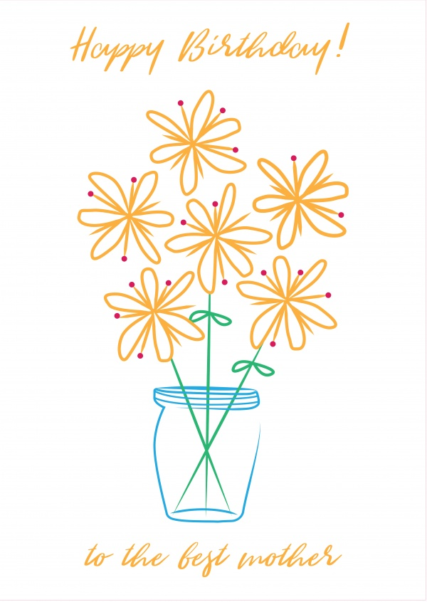 Yellow Flower Sketch Birthday Cards Send Real Postcards