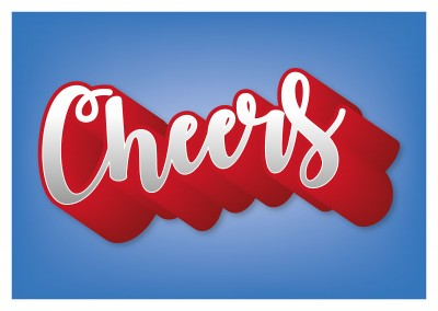 red white blue cheers postcard