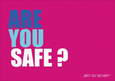 Lustige Denglisch-Grußkarte in pink: are you safe?