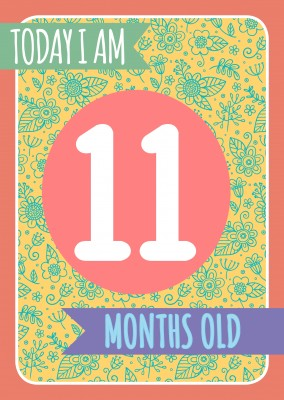Today I am 11 months old- Lettering on a floral backround