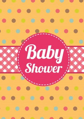 Baby shower-Invitation on polka-dot background