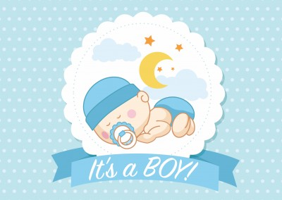 It's a boy- Lettering with a sleeping baby-boy on blue background