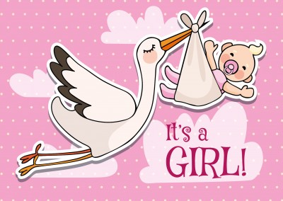 It's a girl-Lettering with stork and baby on a pink background