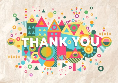Bunte Illustration Grafik Papier bunt Thank you geometrisch