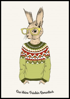 illustration of a rabbit with big glasses in green pullover–my postcard