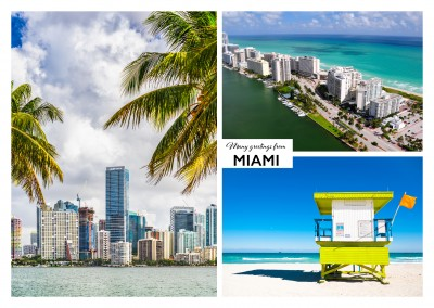 Dreier collage mit fotos aus Miami in Florida, usa