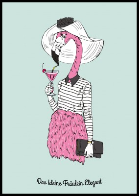 Illustration eines Flamingos  in elegantem Outfit mit Hut–mypostcard