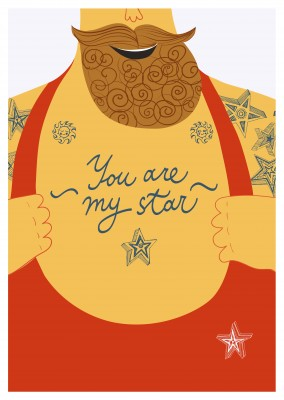 Mann mit Bart Illustration mit Tattoo you are my star