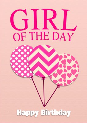 girl of the day geburtstag 3 ballons pink postkarte