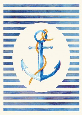 illustration of an anchor on striped background