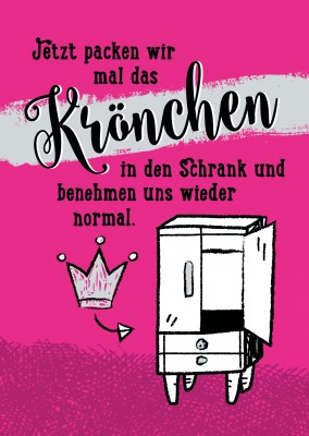 illustration krone in den schrank pink