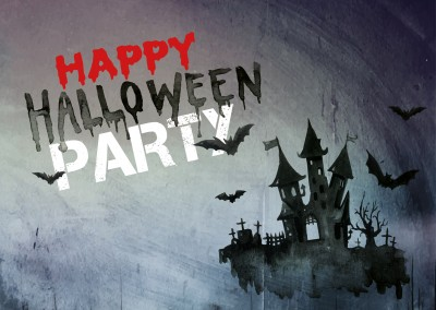 Happy Halloween Party Einladung mit Spukhaus