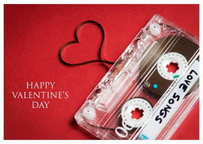 mixtape happy valentines day postkarte
