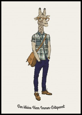 Illustration einer Giraffe in Jeans,Karohemd und Brille–mypostcard