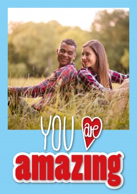 you are amazing in rot blauer Schrift mit Herz