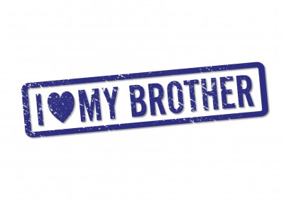 blauer stempel i love my brother postkarte