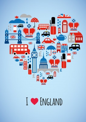 kleine illustrationen herz i love england postkarte