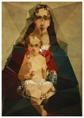 Madonna with Jesus kid as an abstract Polygon canvas Illustration