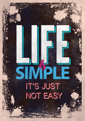 Vintage Spruch Postkarte: Life is simple it`s just not easy