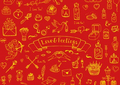 love feelings gelbe rote postkarte design