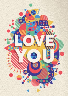 bunte illustration love you postkarte motiv