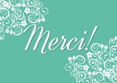 merci floral pattern postcard