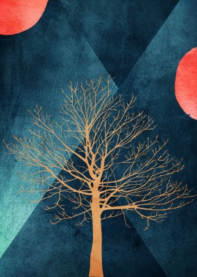 Kubistika tree with two red moons