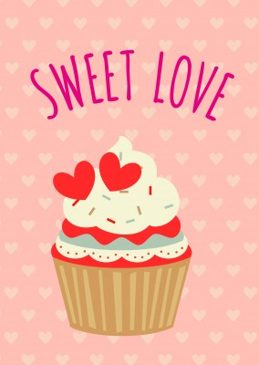 illustration muffin sweet love postkarte