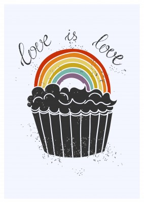 Muffin mit Regenborgen love is love