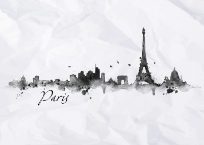 paris Aquarell skyline postkarte