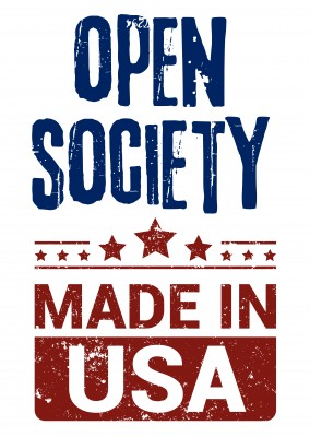 Simple greeting card with text saying open society made in USA