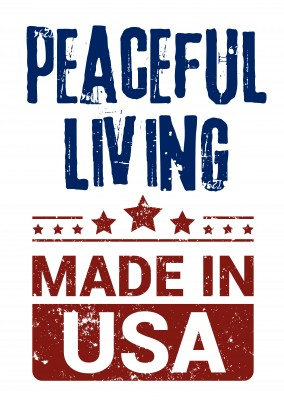 Simple greeting card with text saying peaceful living made in USA
