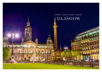 foto vom george quare in glasgob bei nacht