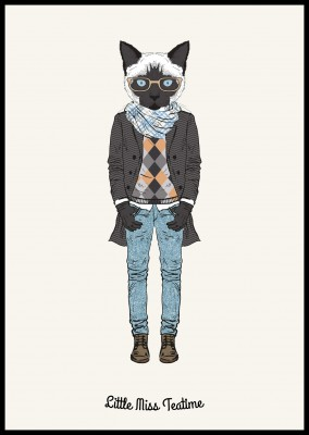 Katze in Hipster outfit mit Schal