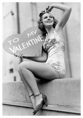 pin up retro valentinstag postkartenmotiv