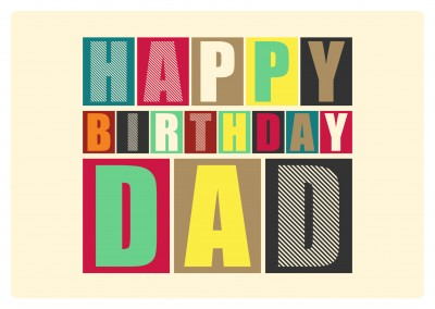 retro postkarte happy birthday dad design layout baukloetze