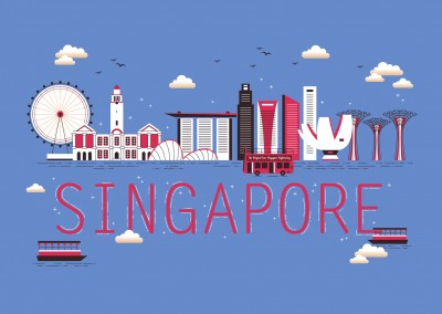 singapur illustration skyline postkarte